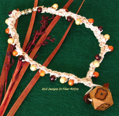 Wood Bead Pendant Choker Necklace - Handmade By Ruth Sandra Sperling of RSS Designs In Fiber