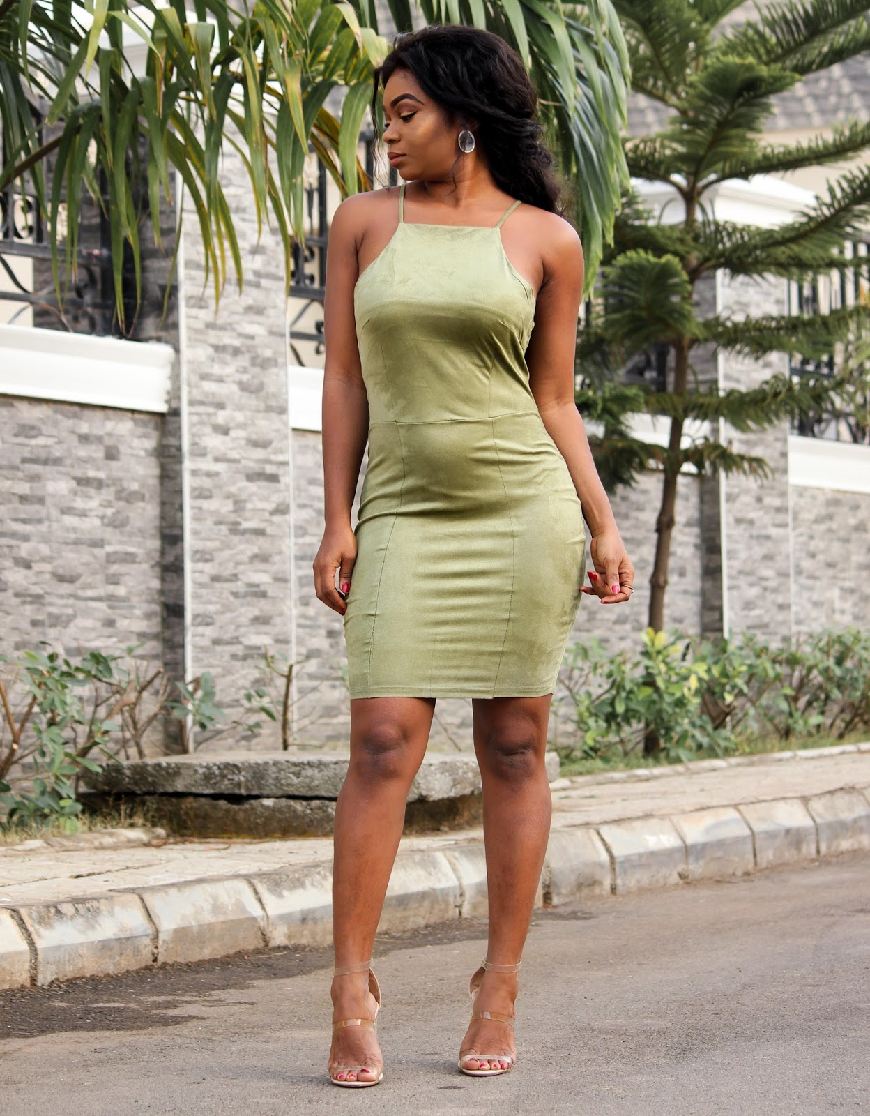OLIVE GREEN BODYCON - Olive Green Bodycon Dress from Jumia with Nude Public Desire Sandals