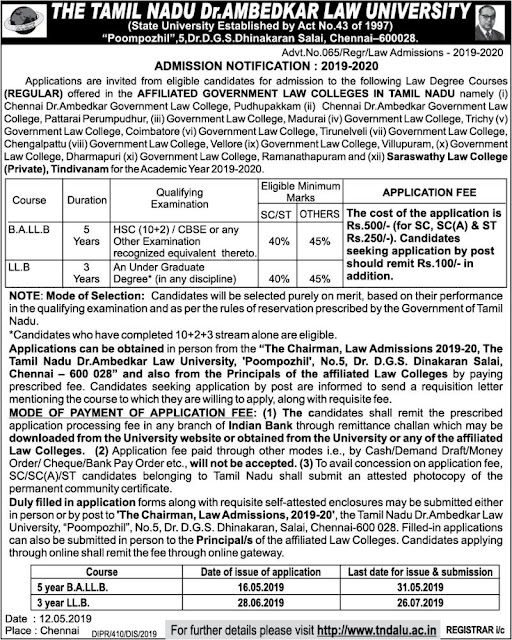 Tamil Nadu Law Colleges Admissions Notification 2019-2020