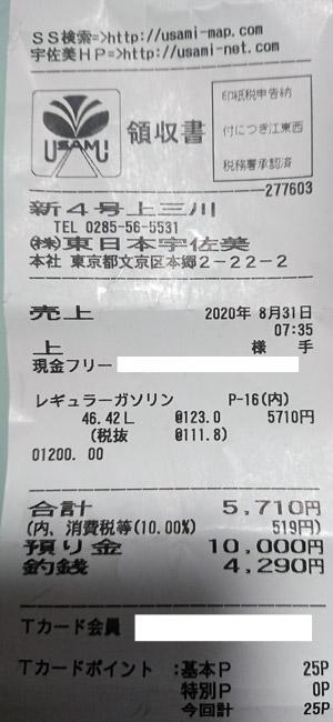 (株)東日本宇佐美 新4号上三川SS 2020/8/31 のレシート