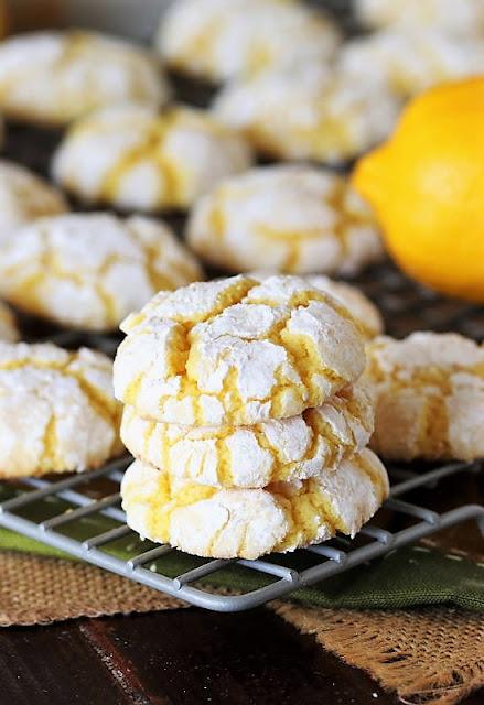 Stack of Lemon Crinkle Cake Mix Cookies Image