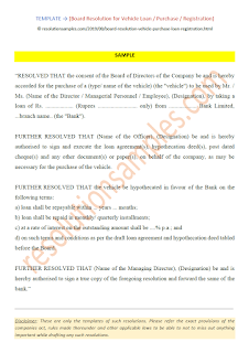 Board Resolution for Vehicle Loan Purchase Registration