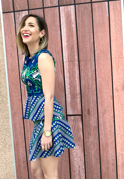 Fitness And Chicness-Vestido estamapado azul y verde-Vestido y Tacon-1