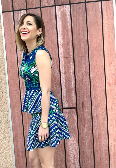 Fitness And Chicness-Vestido estamapado azul y verde-Vestido y Tacon-1