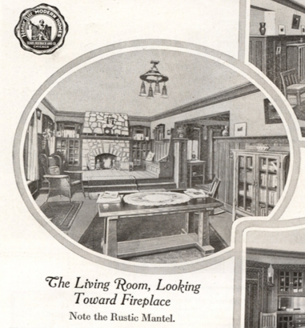 interior fireplace nook image of Sears Ashmore, in the 1918 Sears Modern Homes catalog
