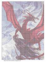 Красный дракон в горах схема вышивки в символах