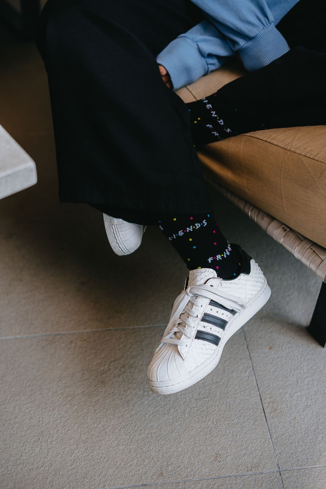 Friends socks from Typo with snakeskin Adidas Superstar sneakers