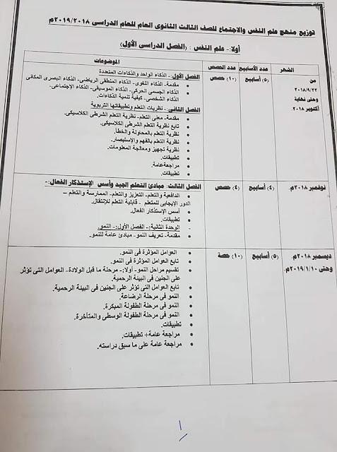 توزيع منهج علم النفس وعلم الاجتماع للصف الثالث الثانوي 2021