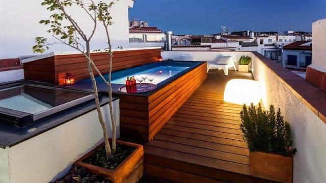 Desain rooftop kolam renang minimalis