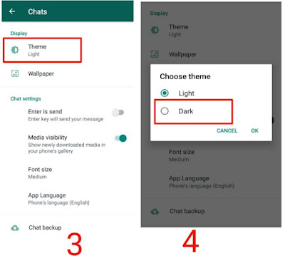 steps to activate dark mode in WhatsApp In hindi