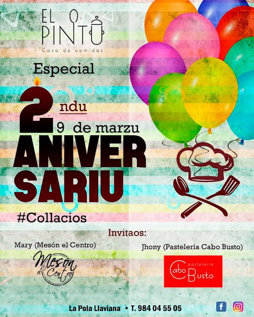 El Pintu - 2 Aniversario - Mesón El Centro - Pastelería Cabo Busto