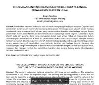 Contoh Jurnal Pengembangan Pendidikan Karakter Dan Budaya Bangsa Berwawasan Kearifan Lokal PDF Download Gratis