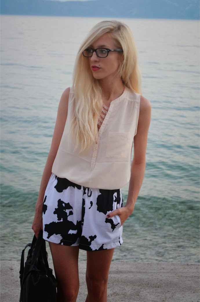 CROATIA II : COW SHORTS & NUDE BLOUSE