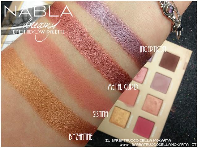 dreamy eyeshadow palette nabla cosmetics ombretti swatch
