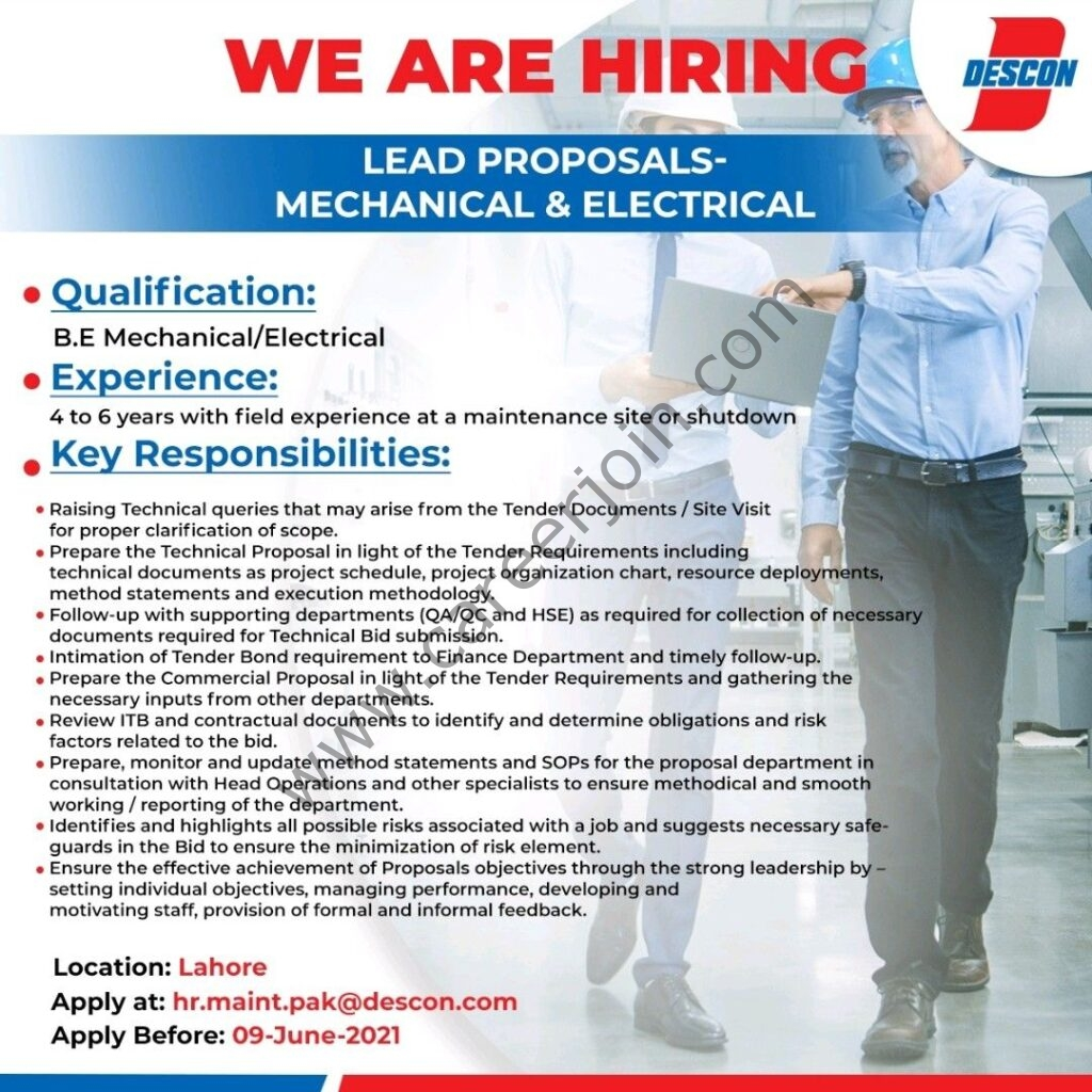descon.com Jobs 2021 - Descon Pakistan Jobs 2021 in Pakistan