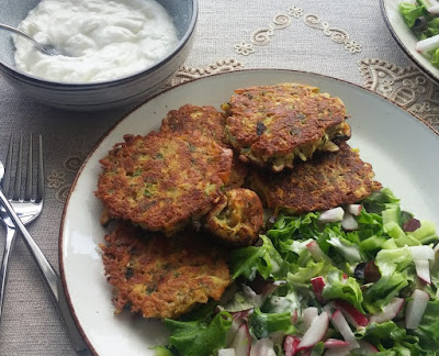 Carrot, Halloumi & Dill Fritters with Garlic Yogurt