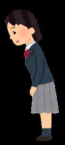 女子学生のお辞儀のイラスト(敬礼)