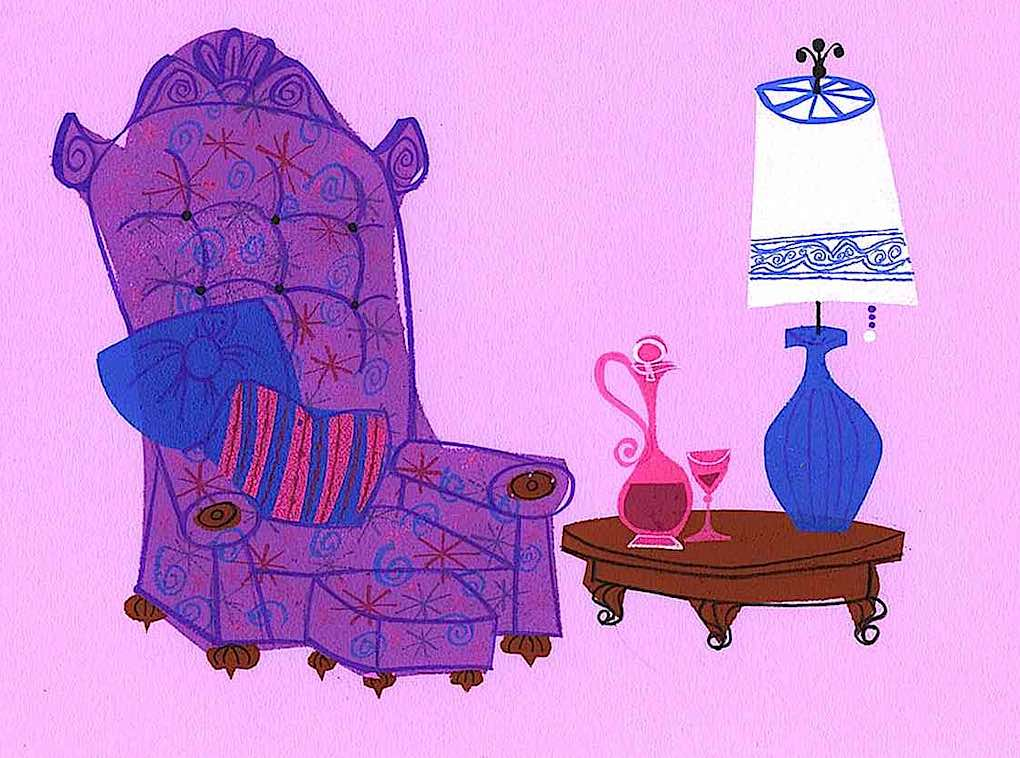 Mr. Magoo's chair, a background from an old UPA animation with starbursts, a purple chair