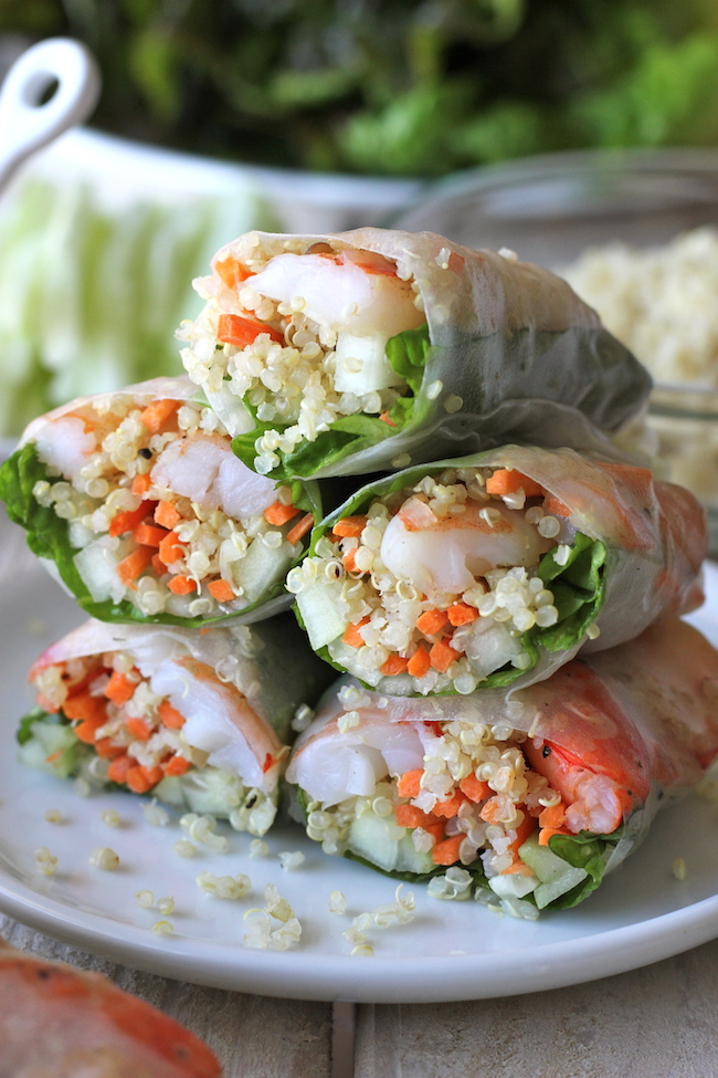 ROASTED SHRIMP QUINOA SPRING ROLLS #rolls #quinoa #roasted #vegetarian #vegan