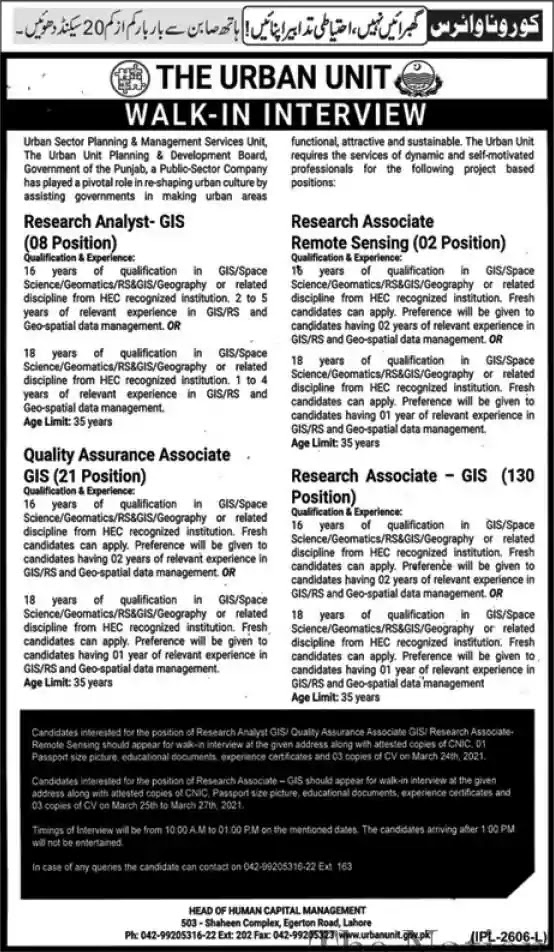 New Jobs in Pakistan The Urban Unit Lahore Punjab Jobs 2021   Walk in Interview