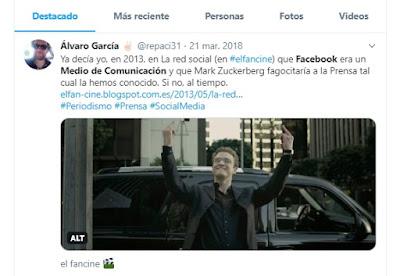Siempre defendí que Facebook es un medio de comunicación, más que una Red Social, incluso en Twitter -   La red social  - Pelis para MIBers - La digitalización explicada con cine - MIBers - Wejoyn  el fancine - Álvaro García - ÁlvaroGP -  Marketing de Contenidos - Content manager
