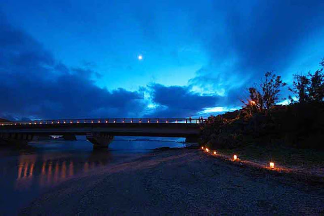 bay, bridge, candles, Ogimi, Okinawa, reflections