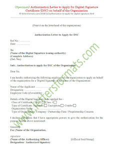 authorization letter format for digital signature