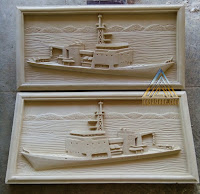 Relief kapal laut/ Kapal barang yang dibuat dari batu alam paras jogja/Batu putih