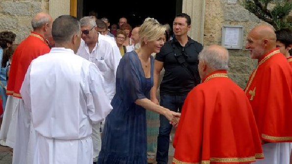 Princess Charlene of Monaco attended a Mass service at the Cathedral of St. John the Baptist in Porto Vecchio