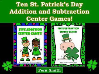St. Patrick's Day Math Center Games Addition and Subtraction Bundle