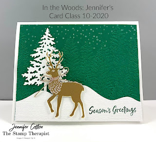 Christmas card with Stampin' Up!'s In the Woods Bundle!  Video and supply list on the blog!  #StampinUp #StampTherapist