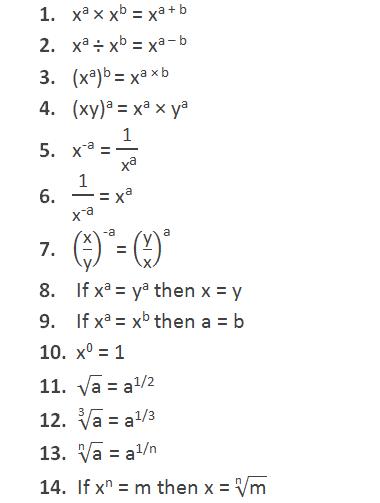 """Law's of indices:  1)   xa × xb = xa + b 2)   xa ÷ xb = xa – b 3)   (xa)b = xa × b 4)   (xy)a = xa × ya 5)   """"x"""" ^""""-a""""  = """"1"""" /〖"""" x"""" 〗^""""a""""   6)   """"1"""" /""""x"""" ^""""-a""""   = """"x"""" ^""""a""""        7)   (""""x"""" /""""y"""" )^""""-a"""" = (""""y"""" /""""x"""" )^""""a""""   8)   If xa = ya then x = y    9)   If xa = xb then a = b        10)   x0 = 1      11)   √(""""a"""" ) = a1/2        12)   √(""""3"""" &""""a"""" ) = a1/3   13)   √(""""n"""" &""""a"""" ) = a1/n    14)   If xn = m then x = √(""""n"""" &""""m"""" )"""