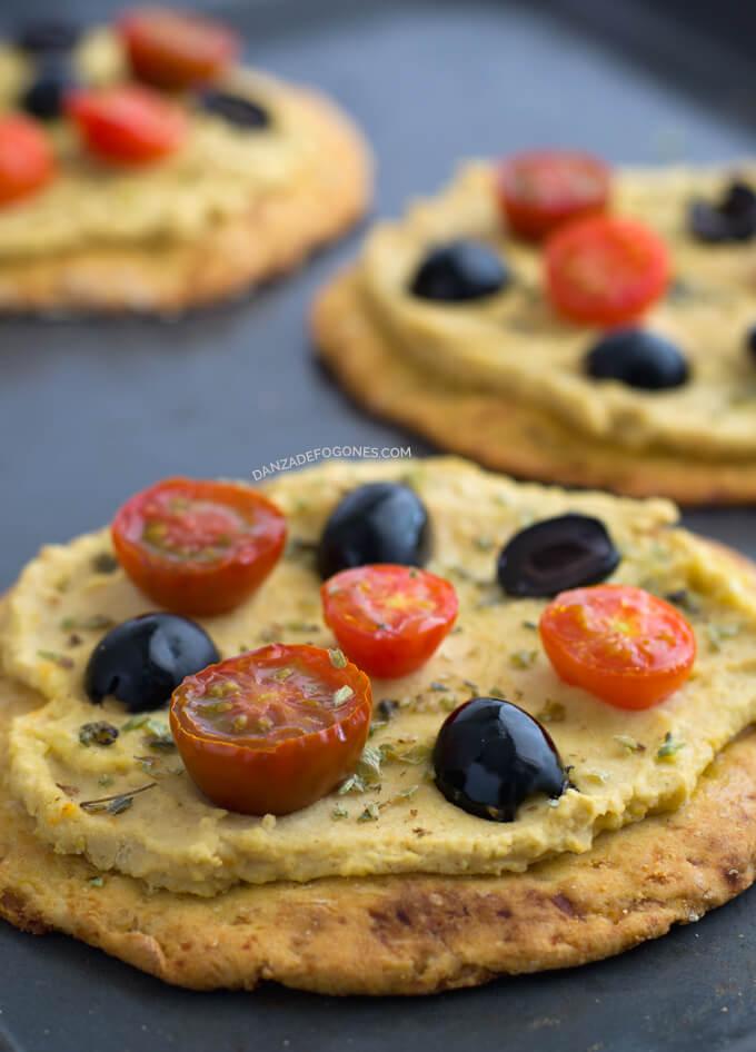 Hummus Pizza (Vegan and Gluten-Free) | danceofstoves.com