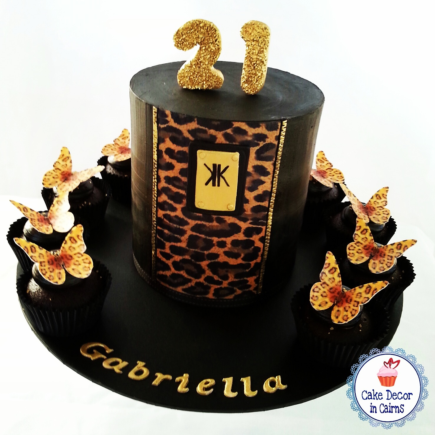 Kardashian Kollection Birthday Cake Leopard Print Black Dark chocolate ganache Edible leopard print butterflies