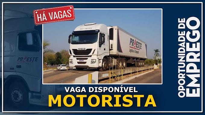 Transportadora Proeste abre vagas para motorista carreteiro