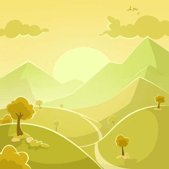 Paisaje de montaña con carretera - vector