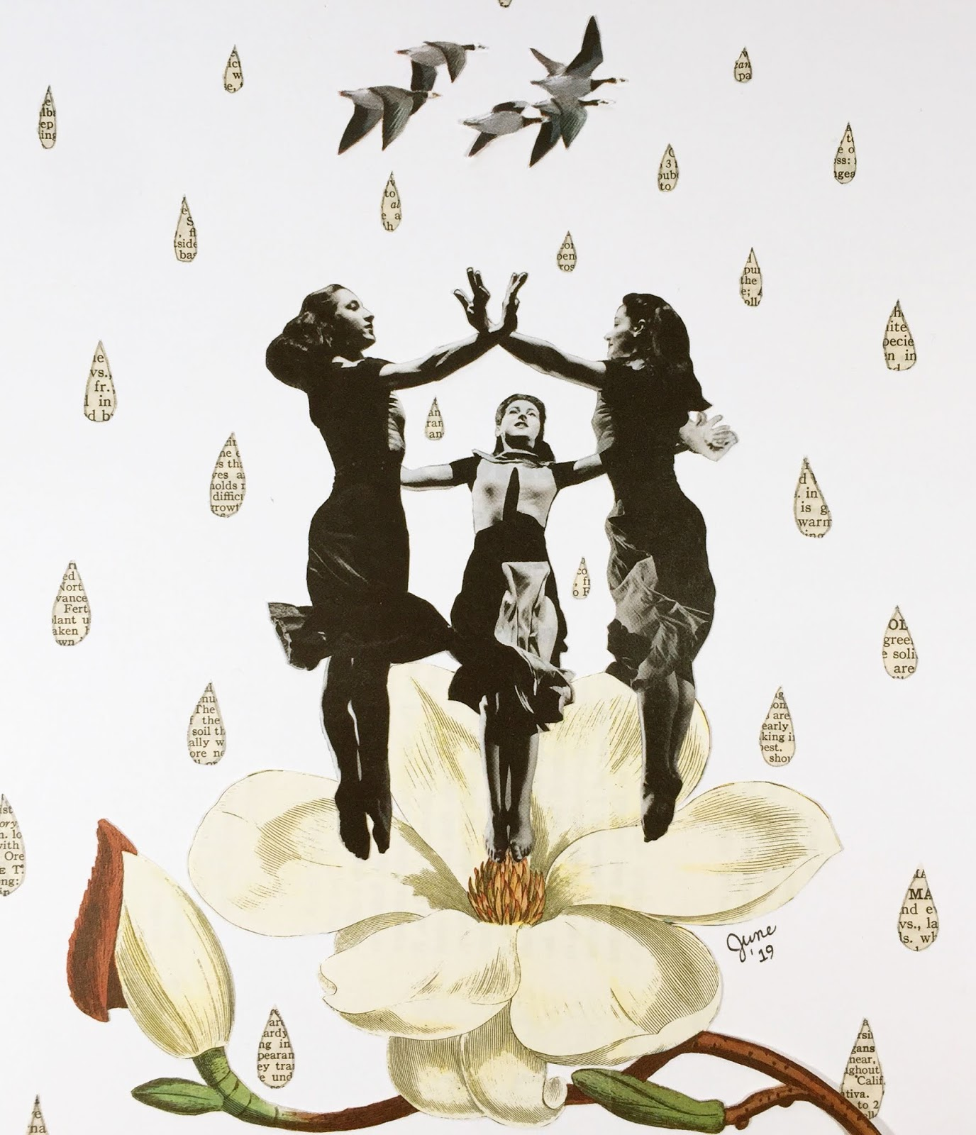 The Ancient Rituals of the Magnolia Dance collage by June Anderson of Under the Plum Blossom Tree blog, collage by June Anderson, June Anderson collagist, June Anderson collage artist, collage art by June Anderson, dance collage art, floral collage art, magnolia flower collage art, Martha Graham dancers 1937 collage, Martha Graham dancers Celebration 1937, Martha Graham Celebration collage, embrace joy collage, welcome happiness collage, magnolia grove, magnolia garden, dance on magnolia petals in the rain