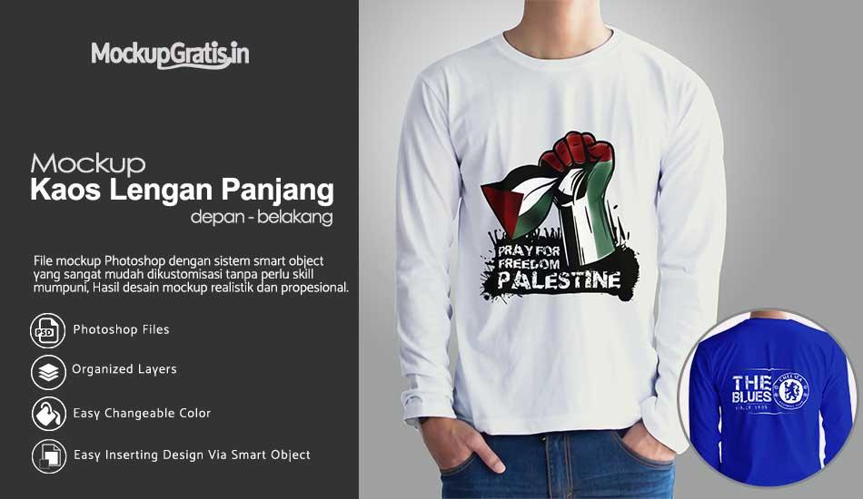 PSD Mockup Custom Kaos Lengan Panjang Gratis