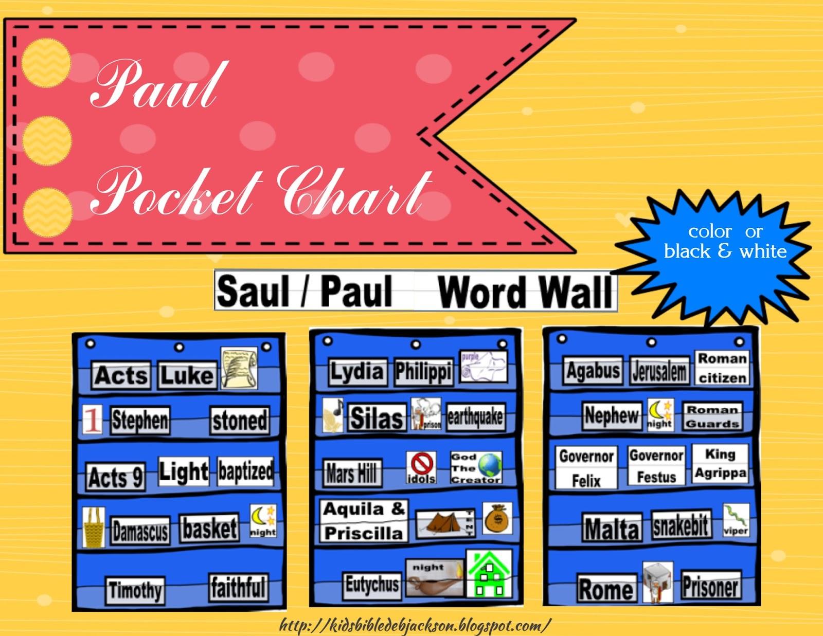 Bible Fun For Kids Paul Pocket Chart Amp Word Wall