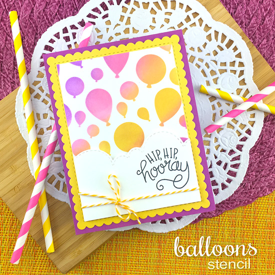 Balloon Birthday Card by Jennifer Jackson | Uplifting Wishes Stamp Set and Balloons Stencil by Newton's Nook Designs #newtonsnook #handmade