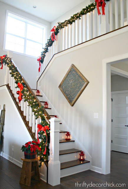 White spindles, risers and balusters on stairs