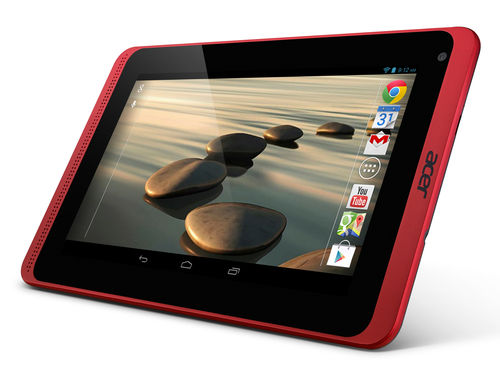Acer Iconia B1-721 Specifications - LAUNCH Announced 2014, January DISPLAY Type TFT capacitive touchscreen Size 7.0 inches (~56.7% screen-to-body ratio) Resolution 600 x 1024 pixels (~170 ppi pixel density) Multitouch Yes BODY Dimensions 199 x 122.3 x 11.4 mm (7.83 x 4.81 x 0.45 in) Weight 323 g (11.39 oz) SIM Yes PLATFORM OS Android OS, v4.2 (Jelly Bean) CPU Dual-core 1.3 GHz Cortex-A7 Chipset Mediatek MT8312 GPU Mali-400 MEMORY Card slot microSD, up to 32 GB (dedicated slot) Internal 16 GB, 1 GB RAM CAMERA Primary VGA Secondary No Video Yes NETWORK Technology GSM / HSPA 2G bands GSM 850 / 900 / 1800 / 1900 3G bands HSDPA Speed HSPA GPRS Yes EDGE Yes COMMS WLAN Wi-Fi 802.11 b/g/n GPS Yes USB microUSB v2.0 Radio No Bluetooth Yes FEATURES Sensors Accelerometer Messaging Email, Push Email, IM Browser HTML5 Java No SOUND Alert types Vibration; MP3, WAV ringtones Loudspeaker Yes 3.5mm jack Yes BATTERY  Non-removable Li-Po 2955 mAh battery Stand-by  Talk time  Music play  MISC Colors Black/Red  - MP3/WAV/WMA/eAAC+ player - MP4/H.264 player - Document viewer - Photo viewer/editor
