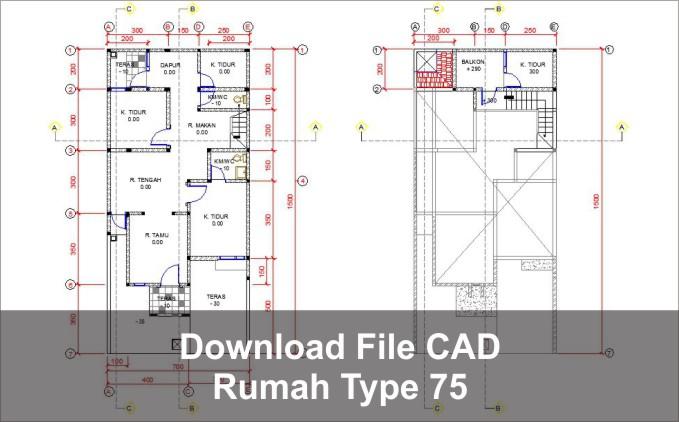 download rumah type 75 cad dwg