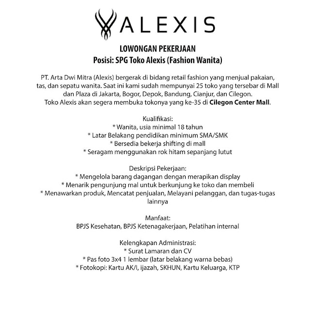 Lowongan Toko Busana Alexis Penempatan Cilegon Central Mall Oktober 2018 Serangid