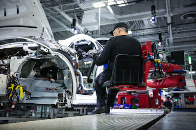 Tesla zero gravity chair on production line