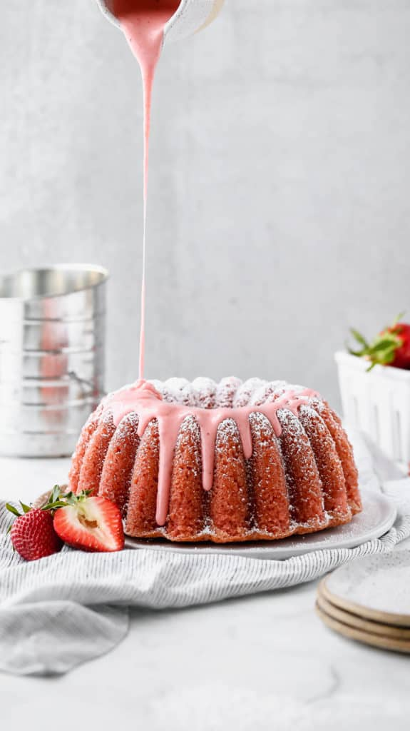 Fresh Strawberry Pound Cake Recipe ~ A delicious pound cake, perfectly dense, but so moist, with wonderful pops of fresh strawberries and a delicious strawberry glaze.