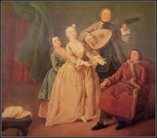 Πίνακας με δύο τραγουδίστριες, έναν εκτελεστή λαούτου και κάποιον ευγενή καθιστό που απολαμβάνει την ιδιωτική συναυλία του