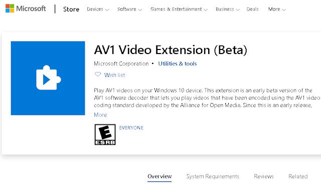 مايكروسوفت تطرح برنامج AV1 Video Codec لنظام التشغيل Windows 10