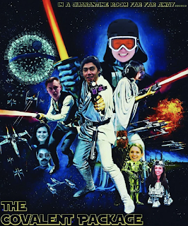 A photo edit of a Star Wars poster with COVID Cup participants faces edited over the characters