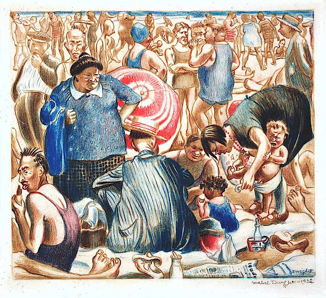 Mabel Dwight 1932, a crowd at the beach
